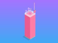 Strawberry Smoothie - Isometric
