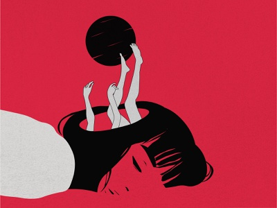 Escape illustartor visual design creative flat illustration minimal asleep girl moon emotion fall escape
