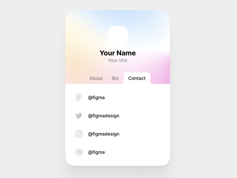 Make this yours and Rebound/Remix this! business card contact card remix ui design tabs minisite vcard ui