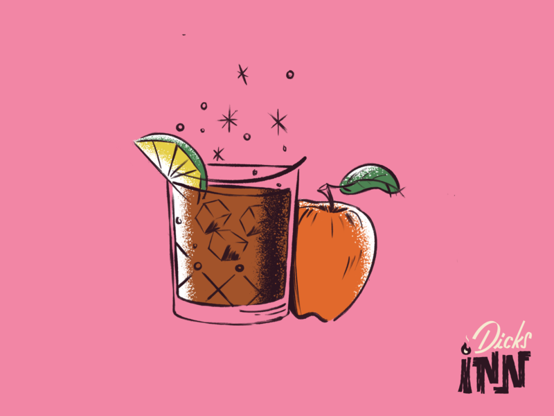 Apple Bourbon Ginger Fizz Illustration tiki cocktail bar branding digitalart procreate cocktail retro art illustration
