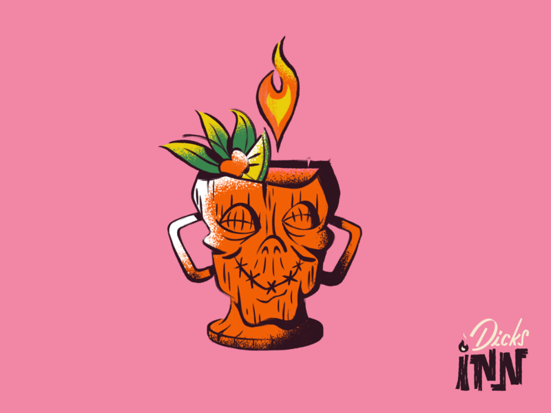 28 Dicks Later: The Drink zombie drink tropical digital art procreate americana tiki bar tiki cocktail menu cocktail character branding art illustration
