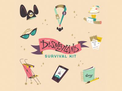 Disneyland Survival Kit illustration disneyland whimsical retro disney