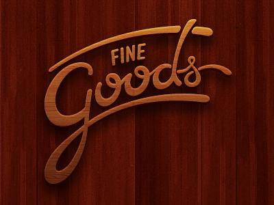 Coming Soon finegoods wood logo script