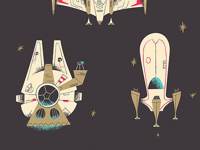 Essentials Of: A New Hope star wars ships sci-fi illustration print essentialsof disney
