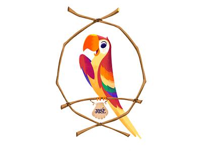 José from the Tiki Room disneyworld rogie disneyland tiki bird parrot tiki room character disney art illustration