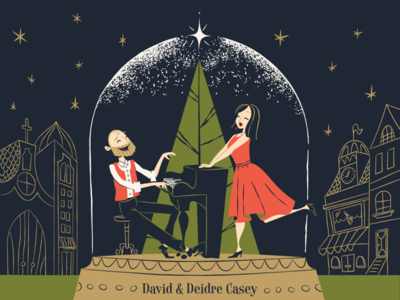 Imagine it's Christmas artwork illustration album christmas cover characters piano jazz