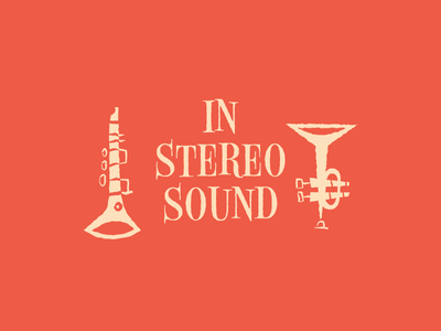 In Stereo Sound illustration 50s jazz stereo art instruments