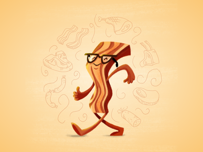 Mr. Bacon bacon meat steak t-bone sausage chop illustration painting