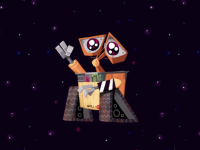 Wall•e grunge brushes pixar disney walle illustration art