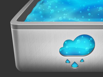 rainboxx.de Logo rainboxx water blue bubbles metal silver cloud box