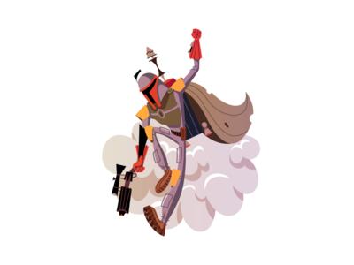 Fett bounty hunter jets backpack boba fett illustration art star wars