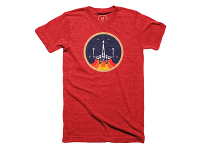 The X-Wing Fighter Tee on Cotton Bureau vintage retro patch art illustration space star wars xwing