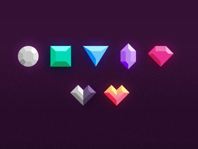 Rarities 2.0 tcg neonmob illustration gems gemstones