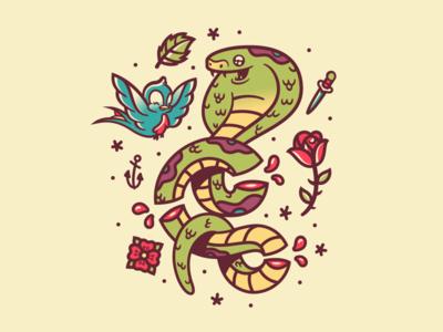 Sailor Jerry × Disney × Rogie sailor jerry art bird snake tattoo illustration