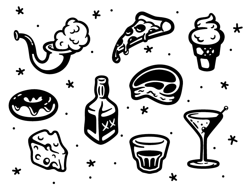 Guilty Pleasures food booze illustration tattoo art guilty pleasures
