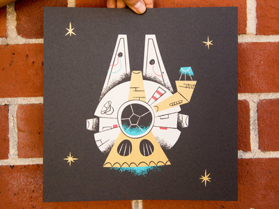 5 LEFT! print millenium falcon illustration art star wars