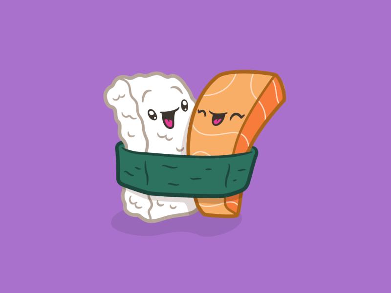 Sushi Pals food lapel pin art illustration pals sushi