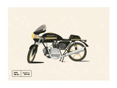 1980 Ducati 900ss midcentury modern 80s motorcycle illustration ducati