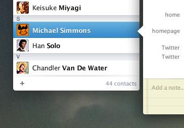Contacts App mac osx contacts app ui
