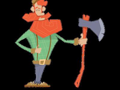 Woodsman Illustration illustration green woodsman axe beard blue art red