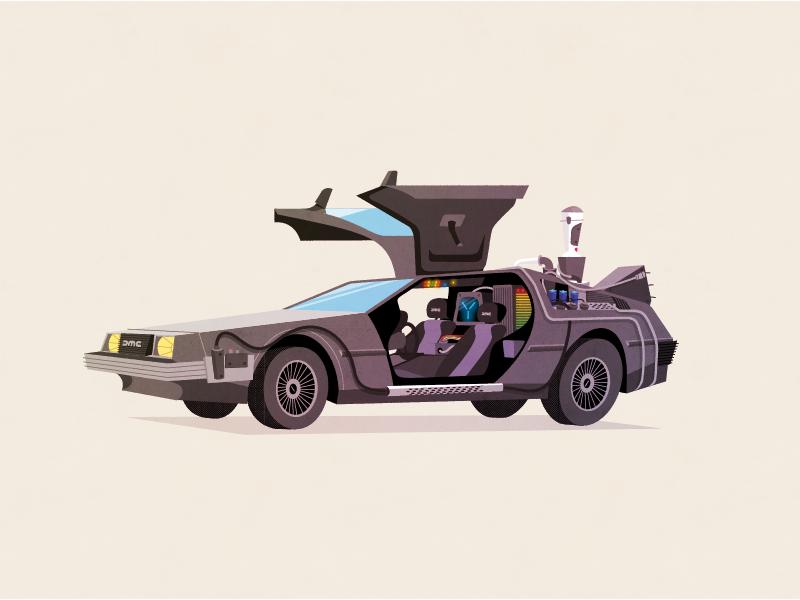 Delorean sci-fidelity ii super team deluxe sci-fi retro back to the future illustration art
