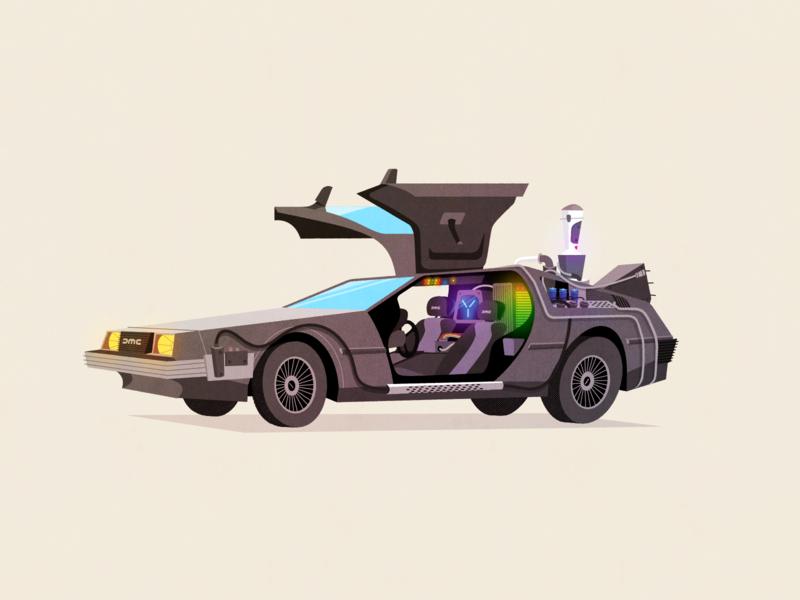 Delorean Final movie sci-fi car delorean back to the future super team deluxe design retro art illustration