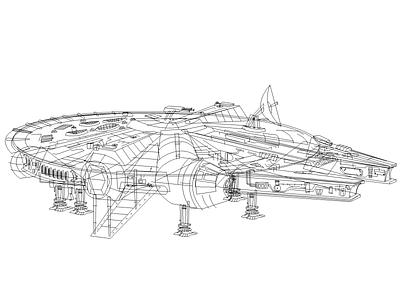 Millennium Falcon Linework [WIP] millenium falcon linework illustration art star wars