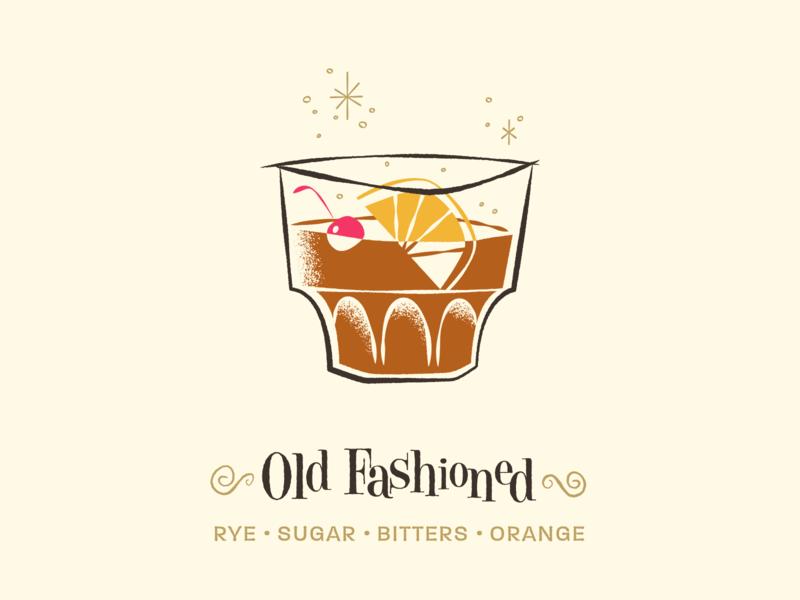 Old Fashioned / Drinktober / Inktober art inktober drinktober mid century modern retro vintage illustration cocktail