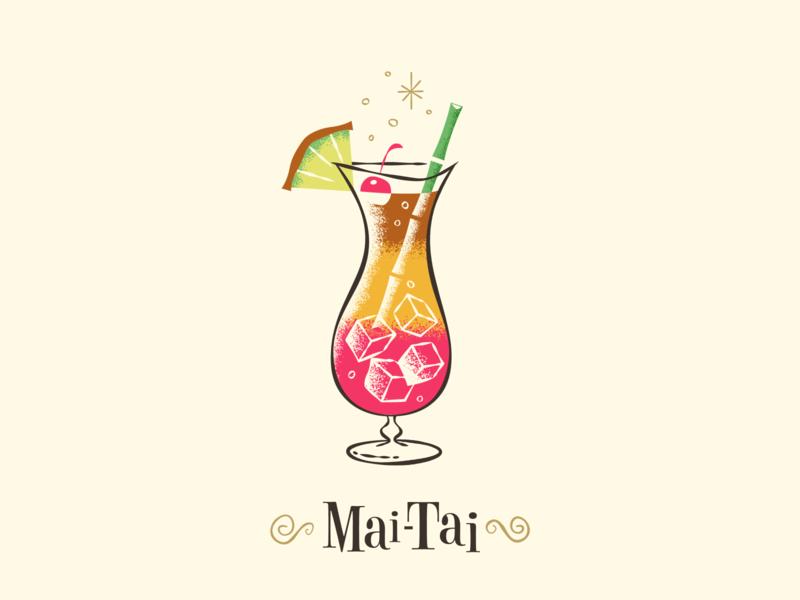 Mai Tai / Drinktober / Inktober rogie drinktober inktober 2018 tiki mid century modern cocktail drinks illustration art