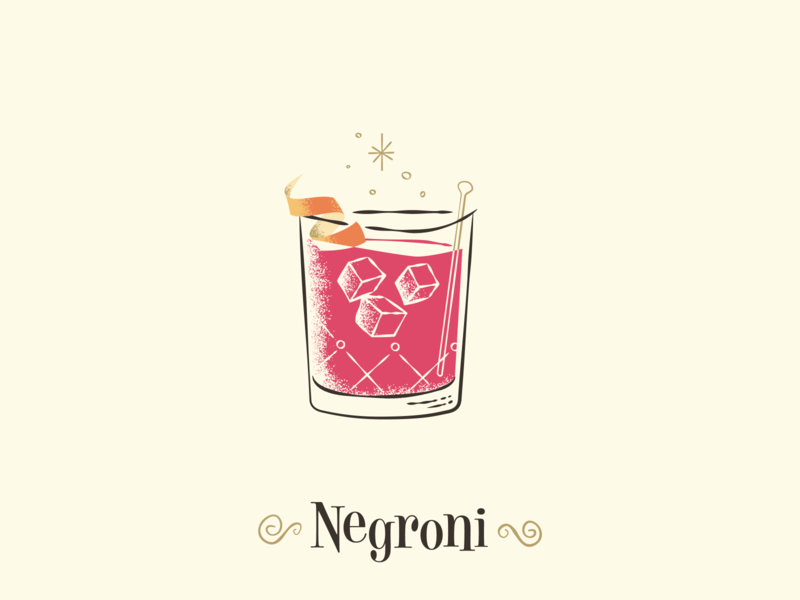 Negroni / Drinktober / Inktober vintage retro cocktail party illustration mid-century modern mid-century cocktail negroni drinktober inktober