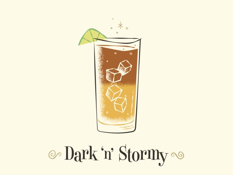 Dark 'n' Stormy art illustration mid-century modern cocktail drink