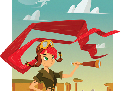 Ellie's Adventure Illustration pixar up ellie fitzgerald aviator art red poster blue illustration print sky mountains