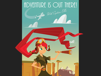 Ellie's Adventure Illustration pixar up ellie fitzgerald aviator art red poster blue illustration print sky mountains