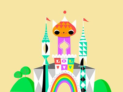Castle of Comedy illustration cat uenoland map art