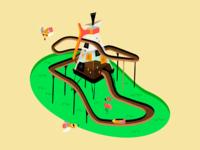 A Mid-Century Coffee Themed Log Ride