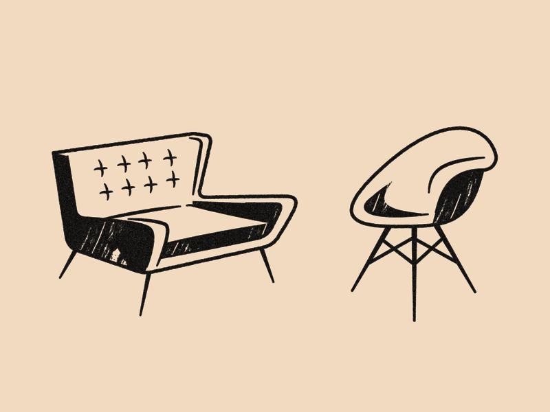 Furniture vector furniture retro art illustration