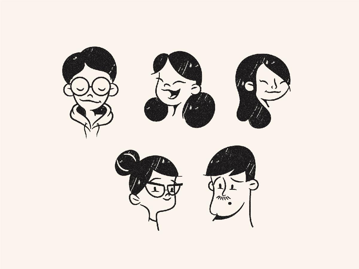 F-F-Faces illustration art retro avatar faces