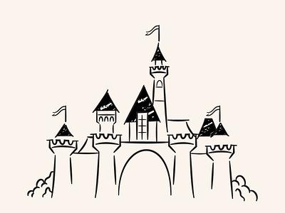 Disneyland Doodle disneyland disney retro art illustration