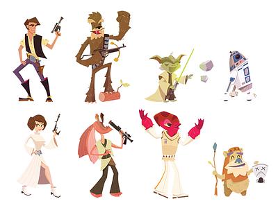 Star Wars Character Illustrations star wars illustration han solo leia chewy yoda r2d2 ackbar ewok jarjar