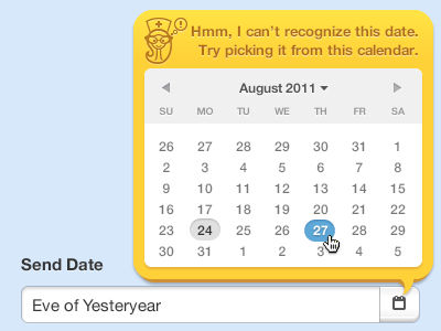Madpicker datepicker yellow fun spirited like a young buck