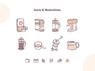 GrindBrew initial icons flat app vector ui illustration design