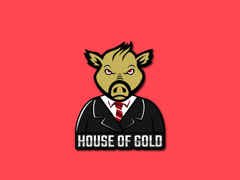 Smart Angry Pig Logo Design animal logo design pig wear suit tie smart pig tie suit gold red eye angry smart pig creativity design art flat icon minimal logo branding vector illustration