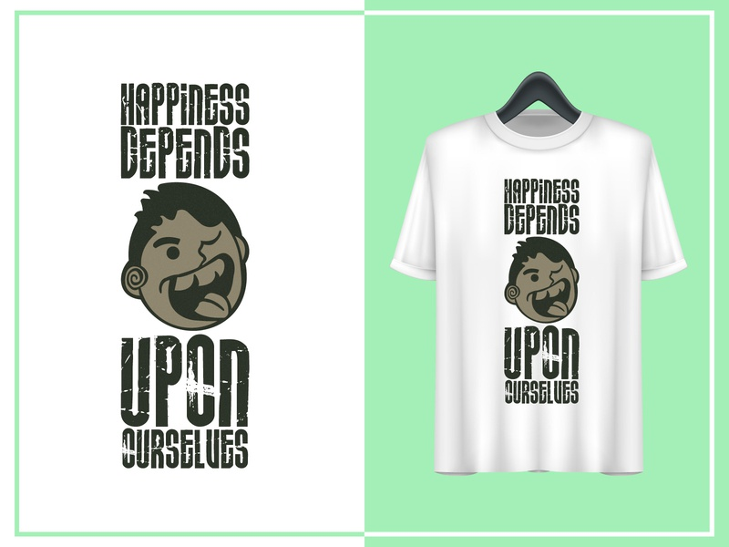 T shirt Design || Happiness Depends Upon Ourselves print design abstract design motivational quotes happiness typography t-shirts art t-shirts art t-shirt illustration branding design t-shirt design animation illustrator art creativity design branding minimal vector illustration