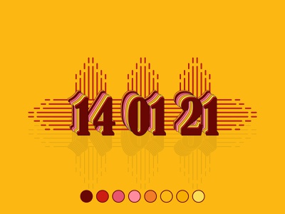 14 01 21 21 01 14 date flat logo minimal creativity design vector illustration
