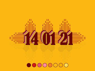 14 01 21 21 01 14 date flat logo minimal creativity design vector illustration