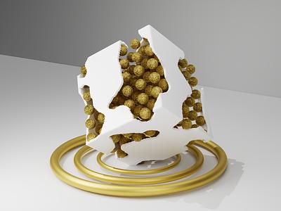 3D Broken Golden Box Design c4d gold design 3ddesign gold goldenbox lowpoly blender 2d 3d illustration