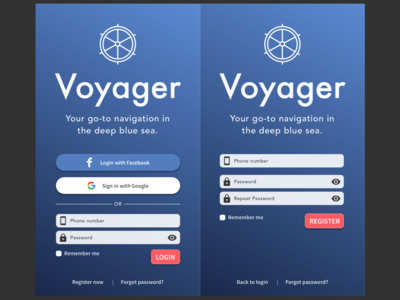 Voyager Sign In & Sign Up Screen