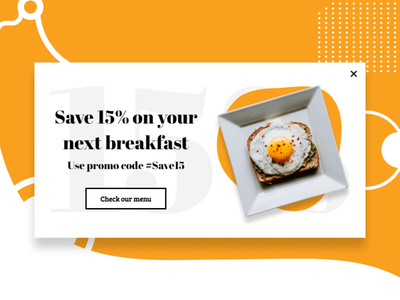 Breakfast menu promotion popup example lightbox yellow dishes promotion promocode white restaurant design food and drink breakfast food popups popup