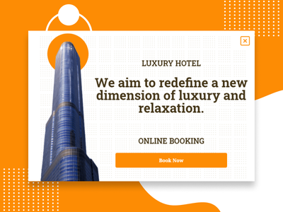 Luxury hotel popup example banner lightbox hospitality booking travel promotion online booking relax luxury design hotel popups popup