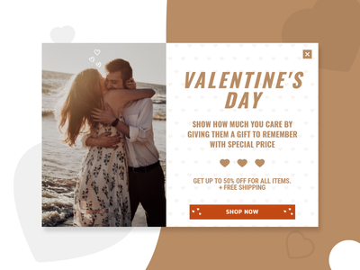 Valentine's Day popup example shop banner lightbox digital store valentines day couples love promotion design e-commerce popups popup valentine